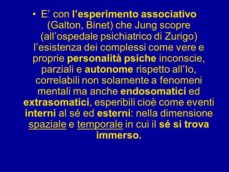 E con lesperimento associativo (Galton, Binet) che Jung scopre (allospedale psichiatrico di Zurigo) lesistenza dei complessi come vere e proprie perso
