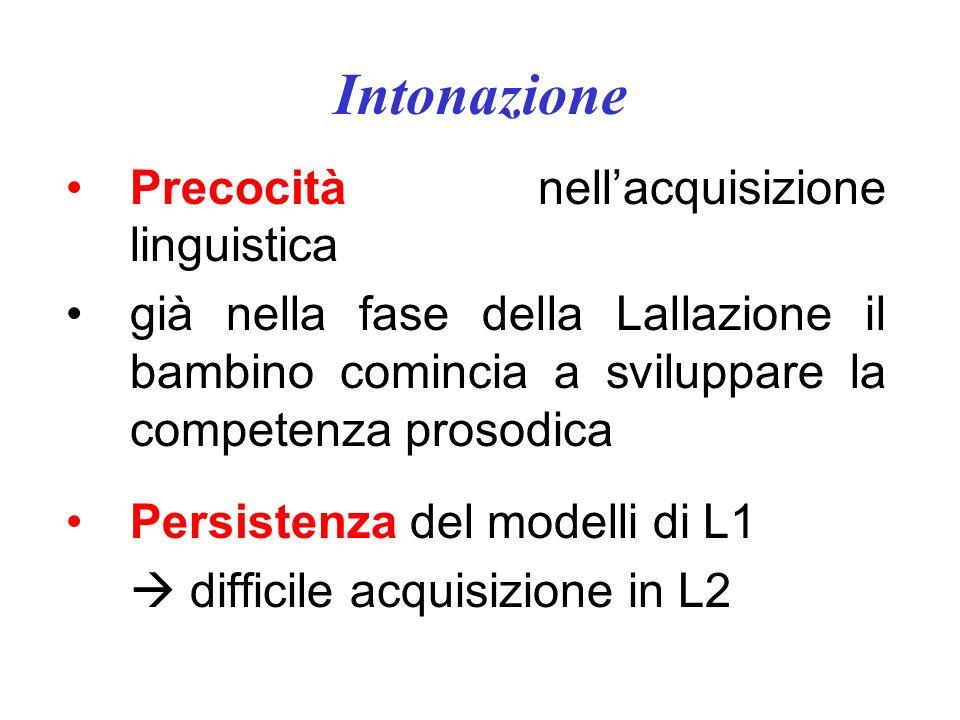 Intonazione Funzioni molteplici 1. grammaticale: movimento discendente vs. ascendente nella porzione finale di enunciato per segnalare asserzione vs.