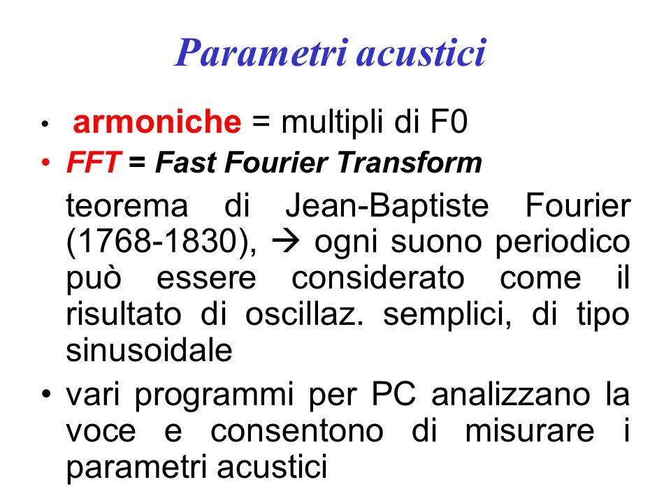 Parametri acustici armoniche = multipli di F0 FFT = Fast Fourier Transform teorema di Jean-Baptiste Fourier (1768-1830), ogni suono periodico può essere considerato come il risultato di oscillaz.