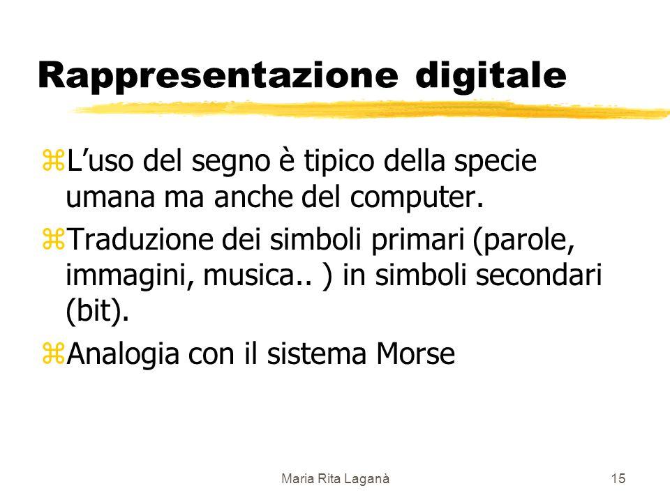 Maria Rita Laganà15 Rappresentazione digitale zLuso del segno è tipico della specie umana ma anche del computer.