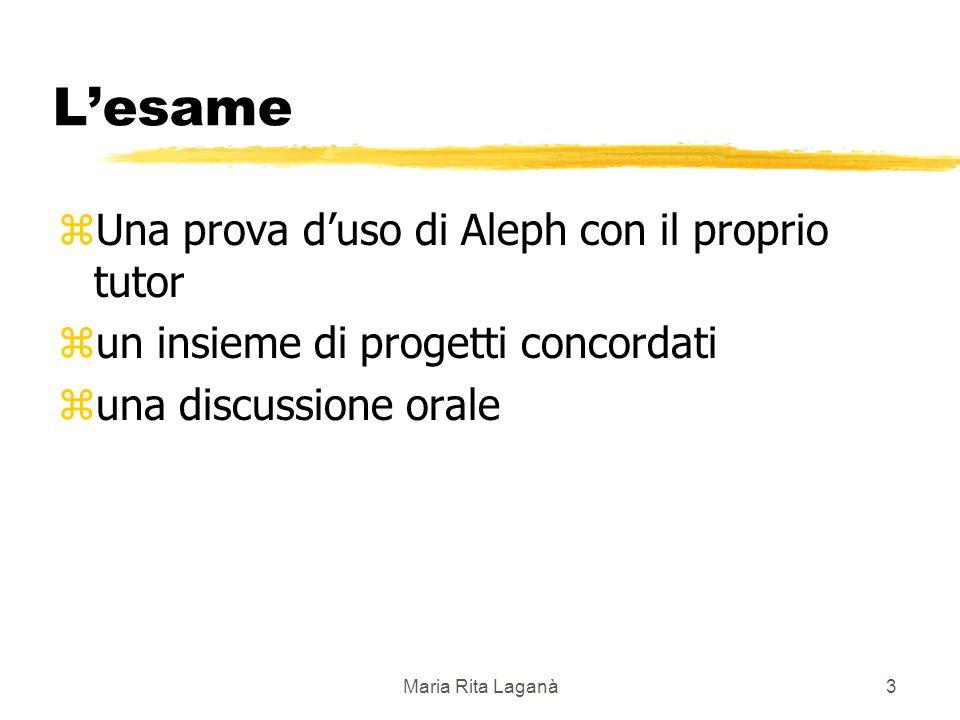 Maria Rita Laganà3 Lesame zUna prova duso di Aleph con il proprio tutor zun insieme di progetti concordati zuna discussione orale