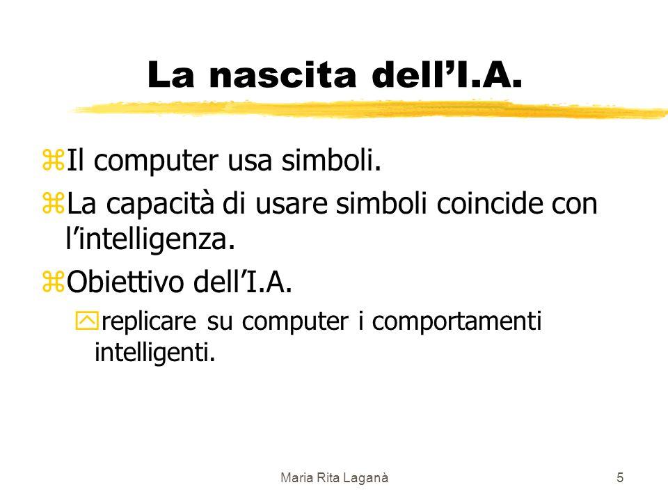 Maria Rita Laganà5 La nascita dellI.A. zIl computer usa simboli.