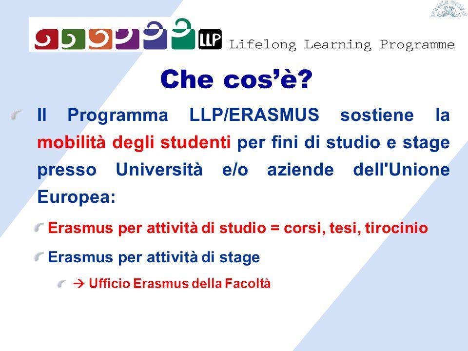 Il Programma LLP/ERASMUS sostiene la mobilità degli studenti per fini di studio e stage presso Università e/o aziende dell Unione Europea: Erasmus per attività di studio = corsi, tesi, tirocinio Erasmus per attività di stage Ufficio Erasmus della Facoltà Che cosè?