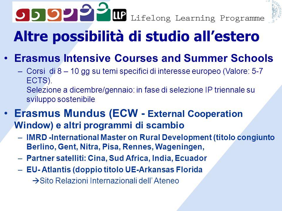 Altre possibilità di studio allestero Erasmus Intensive Courses and Summer Schools –Corsi di 8 – 10 gg su temi specifici di interesse europeo (Valore: 5-7 ECTS).