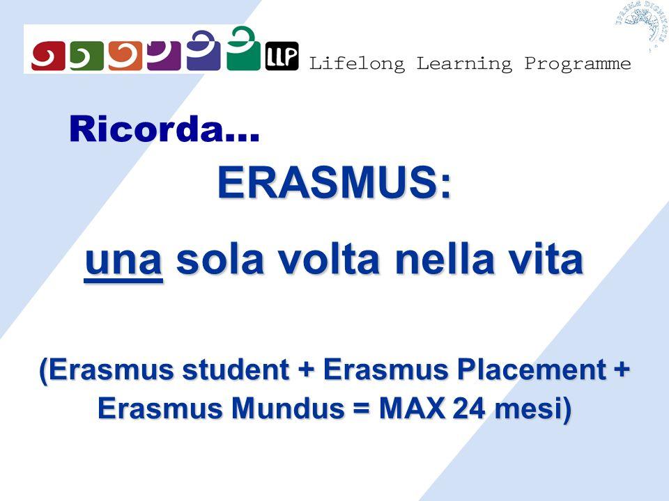 Ricorda… ERASMUS: una sola volta nella vita (Erasmus student + Erasmus Placement + Erasmus Mundus = MAX 24 mesi)