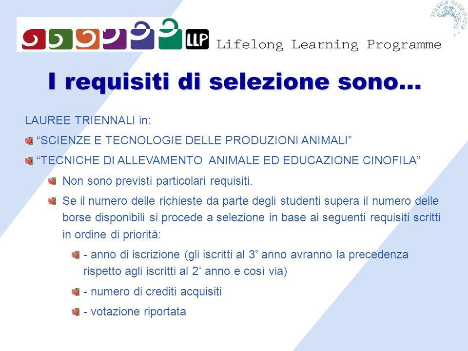 I requisiti di selezione sono I requisiti di selezione sono… LAUREE TRIENNALI in: SCIENZE E TECNOLOGIE DELLE PRODUZIONI ANIMALI TECNICHE DI ALLEVAMENTO ANIMALE ED EDUCAZIONE CINOFILA Non sono previsti particolari requisiti.