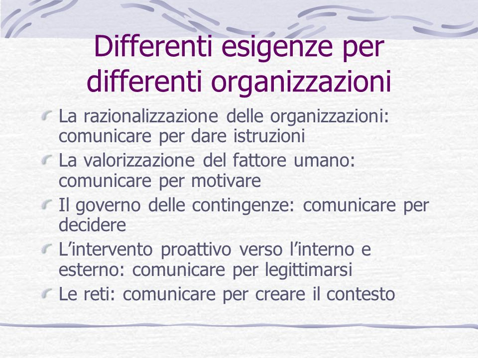 Differenti esigenze per differenti organizzazioni La razionalizzazione delle organizzazioni: comunicare per dare istruzioni La valorizzazione del fatt