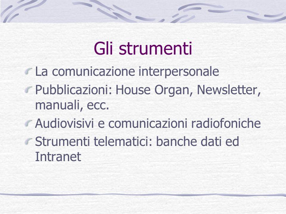 Gli strumenti La comunicazione interpersonale Pubblicazioni: House Organ, Newsletter, manuali, ecc. Audiovisivi e comunicazioni radiofoniche Strumenti