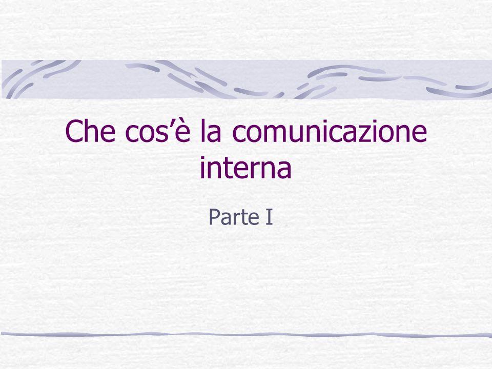 Due approcci alla comunicazione interna Approccio psicologico Pone laccento sulla dimensione interpersonale Focus su come interagiscono gli individui Approccio organizzativo Pone laccento sui flussi di comunicazione Focus su come gli individui operano nellorganizzazione