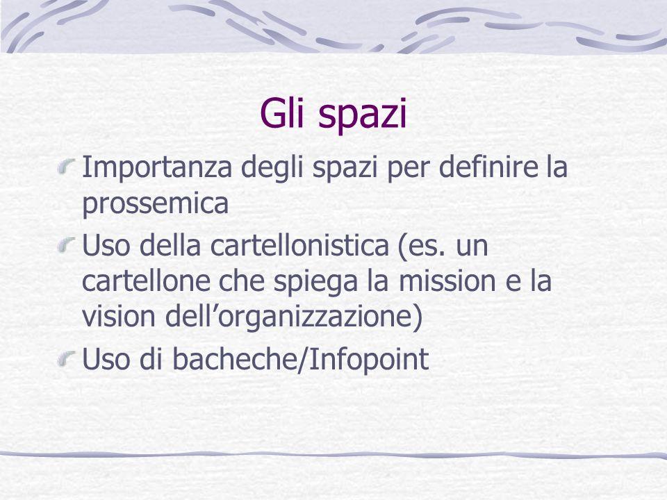 Gli spazi Importanza degli spazi per definire la prossemica Uso della cartellonistica (es. un cartellone che spiega la mission e la vision dellorganiz
