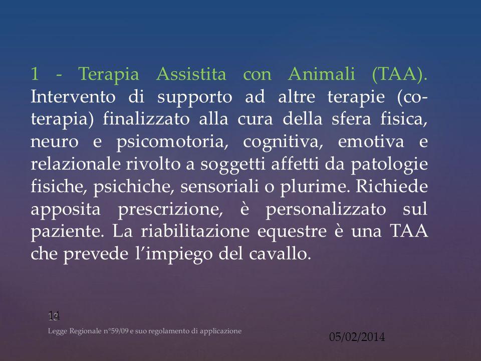 1 - Terapia Assistita con Animali (TAA).
