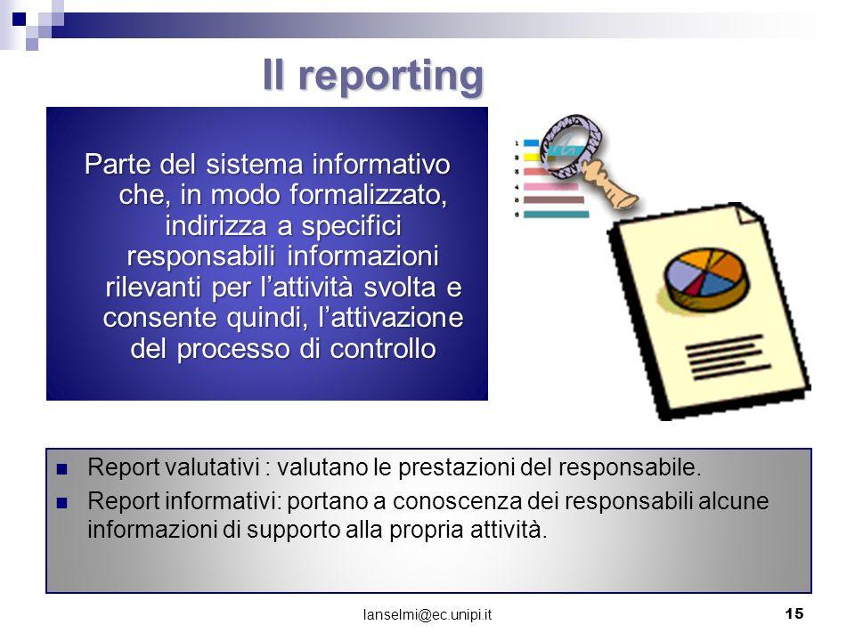 Il reporting Parte del sistema informativo che, in modo formalizzato, indirizza a specifici responsabili informazioni rilevanti per lattività svolta e