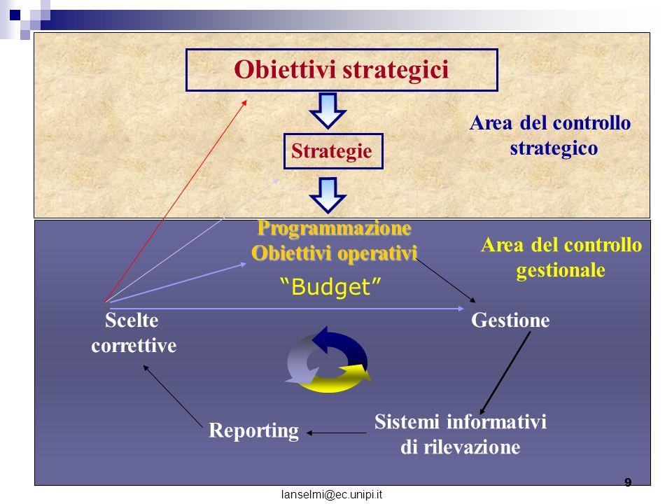 Obiettivi strategici Strategie Programmazione Obiettivi operativi Gestione Sistemi informativi di rilevazione Reporting Scelte correttive Area del con
