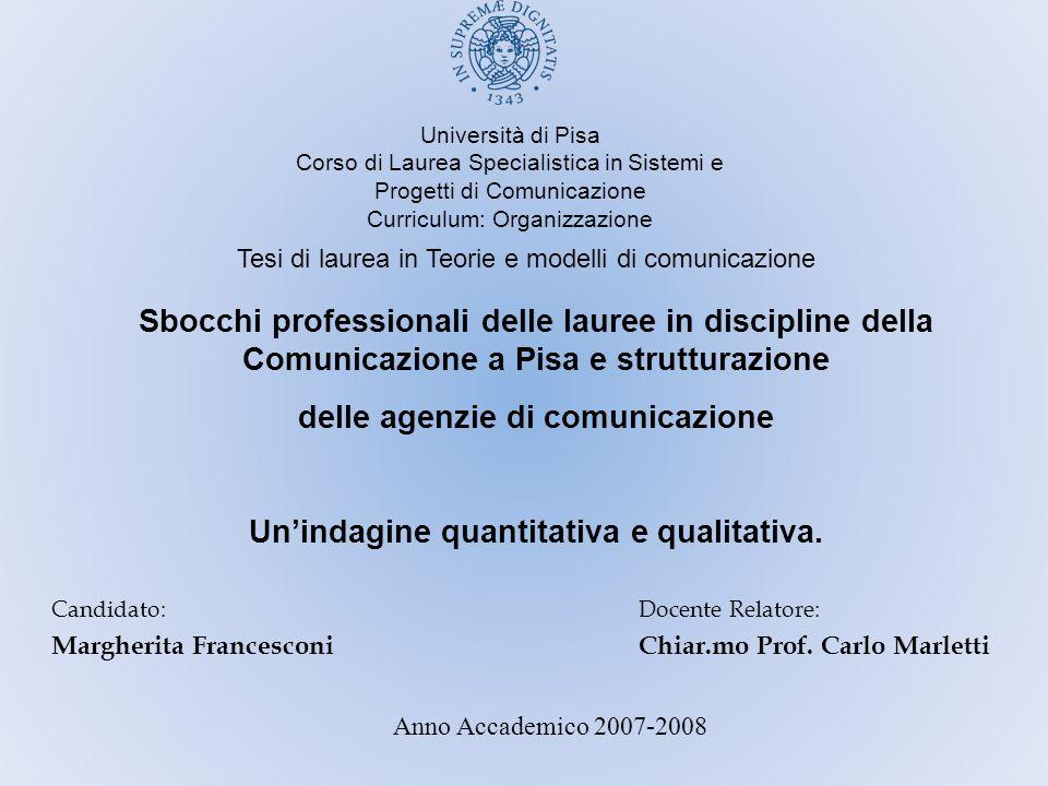 Università di Pisa Corso di Laurea Specialistica in Sistemi e Progetti di Comunicazione Curriculum: Organizzazione Tesi di laurea in Teorie e modelli