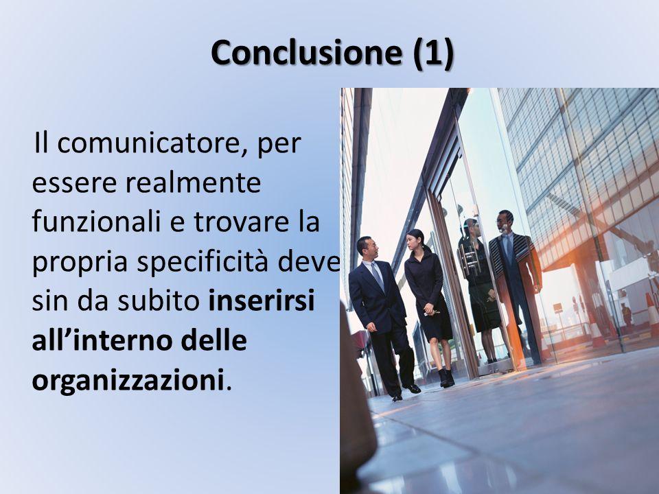 Conclusione (1) Il comunicatore, per essere realmente funzionali e trovare la propria specificità deve sin da subito inserirsi allinterno delle organi