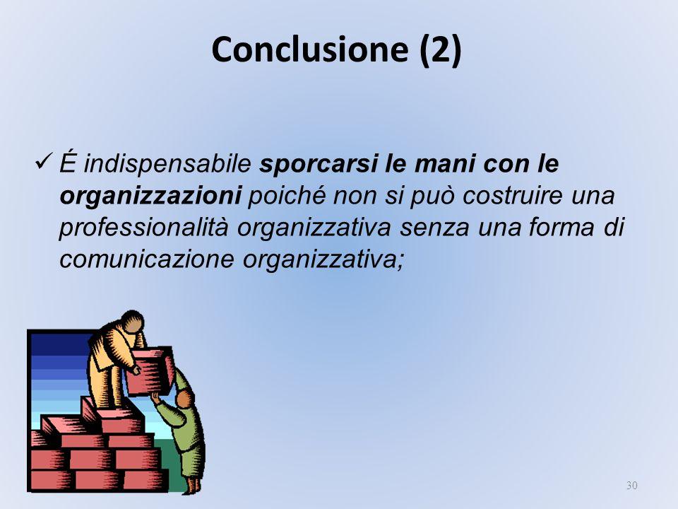 30 É indispensabile sporcarsi le mani con le organizzazioni poiché non si può costruire una professionalità organizzativa senza una forma di comunicaz