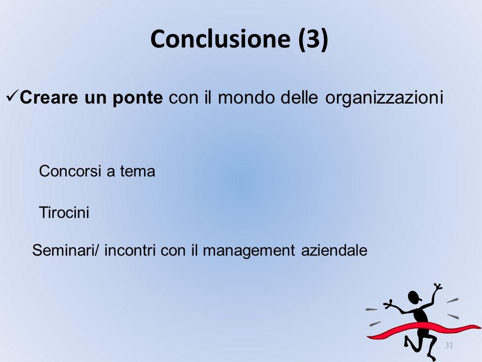 31 Conclusione (3) Creare un ponte con il mondo delle organizzazioni Concorsi a tema Tirocini Seminari/ incontri con il management aziendale
