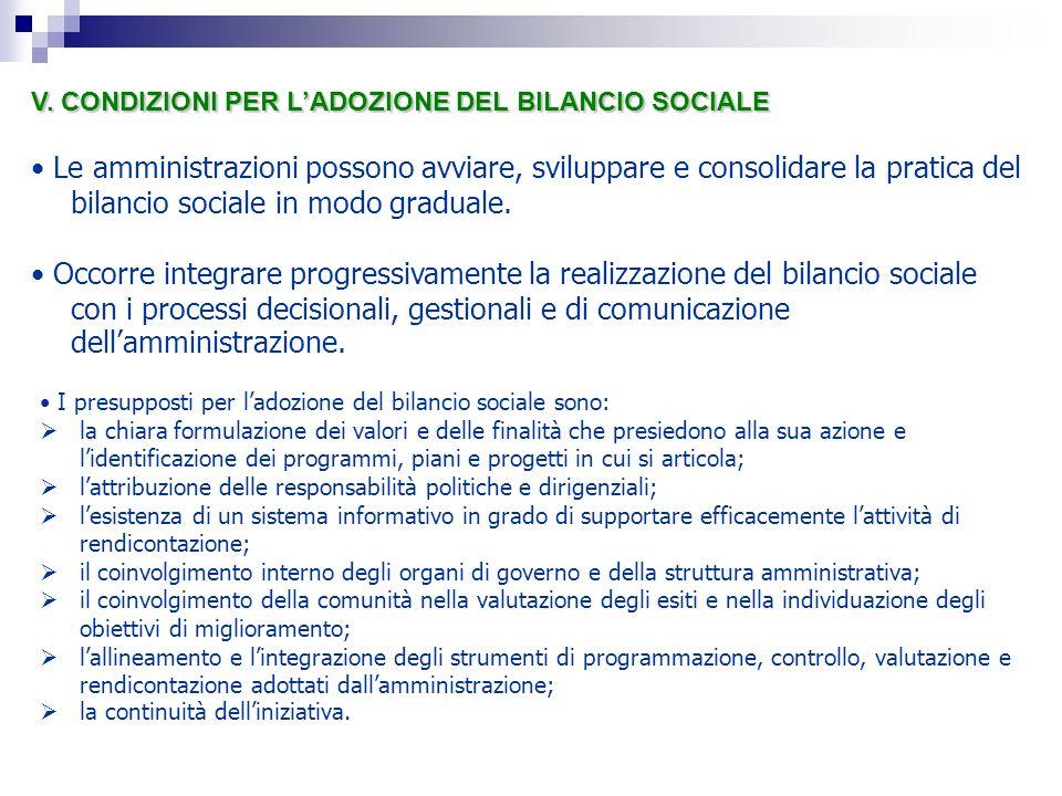 V. CONDIZIONI PER LADOZIONE DEL BILANCIO SOCIALE Le amministrazioni possono avviare, sviluppare e consolidare la pratica del bilancio sociale in modo