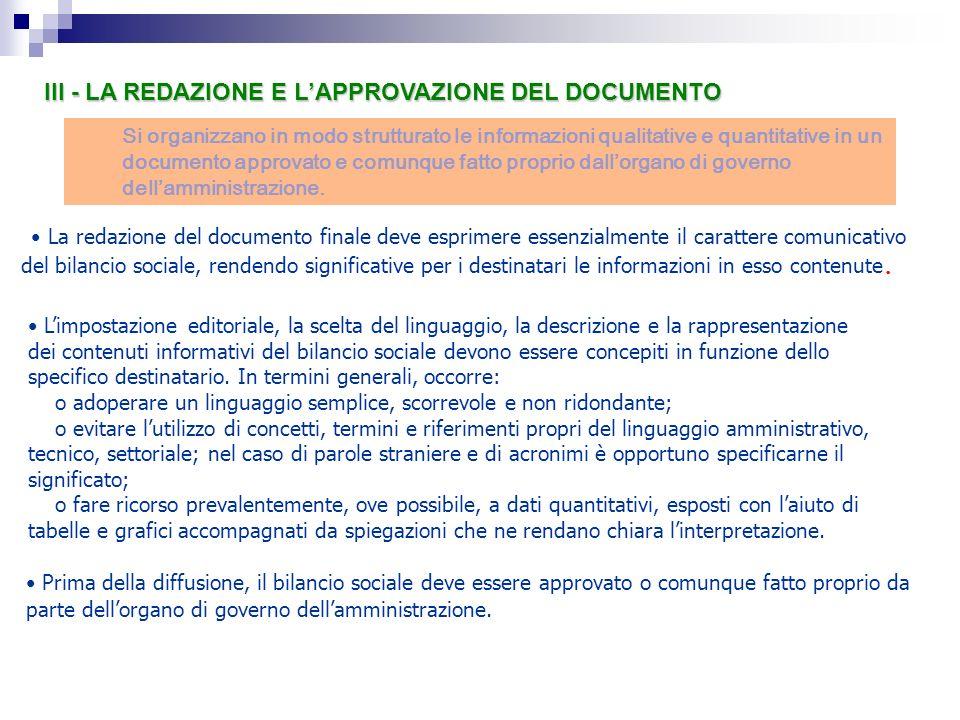 Si organizzano in modo strutturato le informazioni qualitative e quantitative in un documento approvato e comunque fatto proprio dallorgano di governo