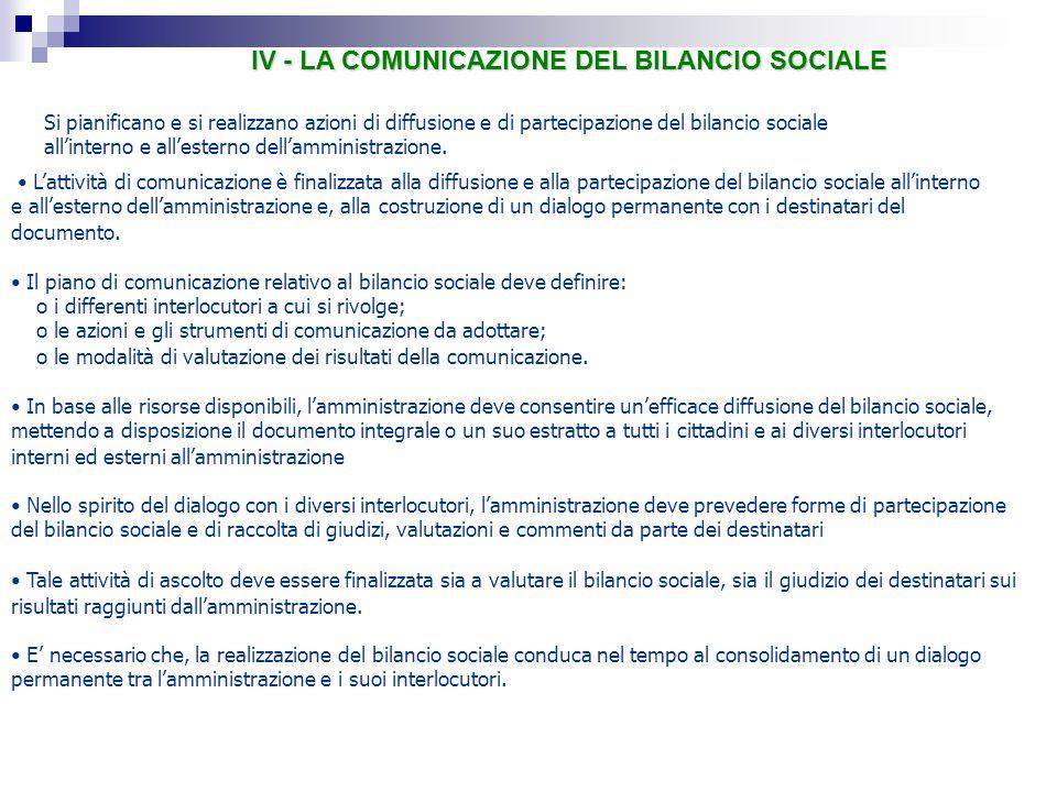 IV - LA COMUNICAZIONE DEL BILANCIO SOCIALE Lattività di comunicazione è finalizzata alla diffusione e alla partecipazione del bilancio sociale allinte