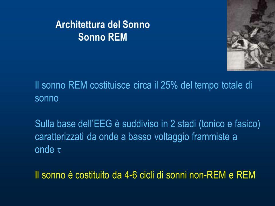 Architettura del Sonno Sonno REM Il sonno REM costituisce circa il 25% del tempo totale di sonno Sulla base dellEEG è suddiviso in 2 stadi (tonico e fasico) caratterizzati da onde a basso voltaggio frammiste a onde Il sonno è costituito da 4-6 cicli di sonni non-REM e REM