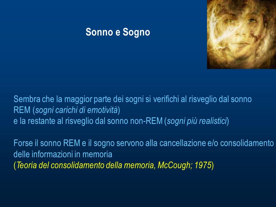 Sonno e Sogno Sembra che la maggior parte dei sogni si verifichi al risveglio dal sonno REM ( sogni carichi di emotività ) e la restante al risveglio dal sonno non-REM ( sogni più realistici ) Forse il sonno REM e il sogno servono alla cancellazione e/o consolidamento delle informazioni in memoria ( Teoria del consolidamento della memoria, McCough; 1975 )