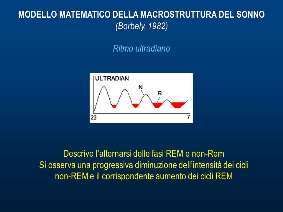 MODELLO MATEMATICO DELLA MACROSTRUTTURA DEL SONNO (Borbely, 1982) Ritmo ultradiano Descrive lalternarsi delle fasi REM e non-Rem Si osserva una progressiva diminuzione dellintensità dei cicli non-REM e il corrispondente aumento dei cicli REM