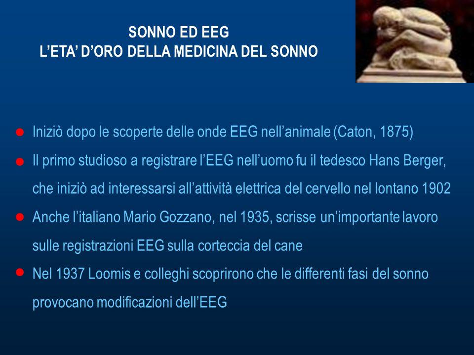 SONNO ED EEG LETA DORO DELLA MEDICINA DEL SONNO Iniziò dopo le scoperte delle onde EEG nellanimale (Caton, 1875) Il primo studioso a registrare lEEG nelluomo fu il tedesco Hans Berger, che iniziò ad interessarsi allattività elettrica del cervello nel lontano 1902 Anche litaliano Mario Gozzano, nel 1935, scrisse unimportante lavoro sulle registrazioni EEG sulla corteccia del cane Nel 1937 Loomis e colleghi scoprirono che le differenti fasi del sonno provocano modificazioni dellEEG