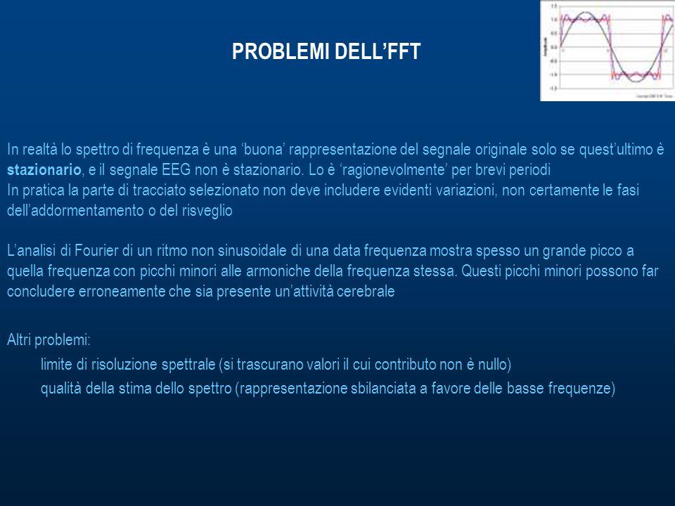 PROBLEMI DELLFFT In realtà lo spettro di frequenza è una buona rappresentazione del segnale originale solo se questultimo è stazionario, e il segnale EEG non è stazionario.