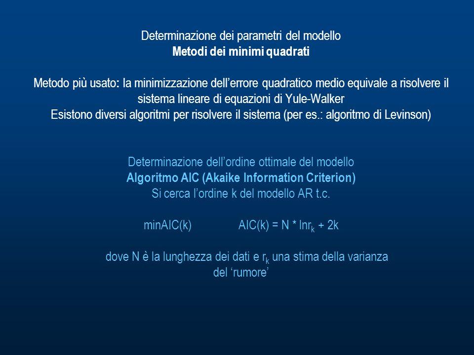 Determinazione dei parametri del modello Metodi dei minimi quadrati Metodo più usato : la minimizzazione dellerrore quadratico medio equivale a risolvere il sistema lineare di equazioni di Yule-Walker Esistono diversi algoritmi per risolvere il sistema (per es.: algoritmo di Levinson) Determinazione dellordine ottimale del modello Algoritmo AIC (Akaike Information Criterion) Si cerca lordine k del modello AR t.c.