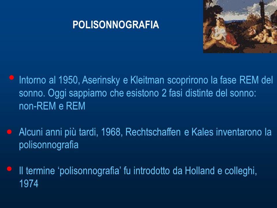 POLISONNOGRAFIA Intorno al 1950, Aserinsky e Kleitman scoprirono la fase REM del sonno.