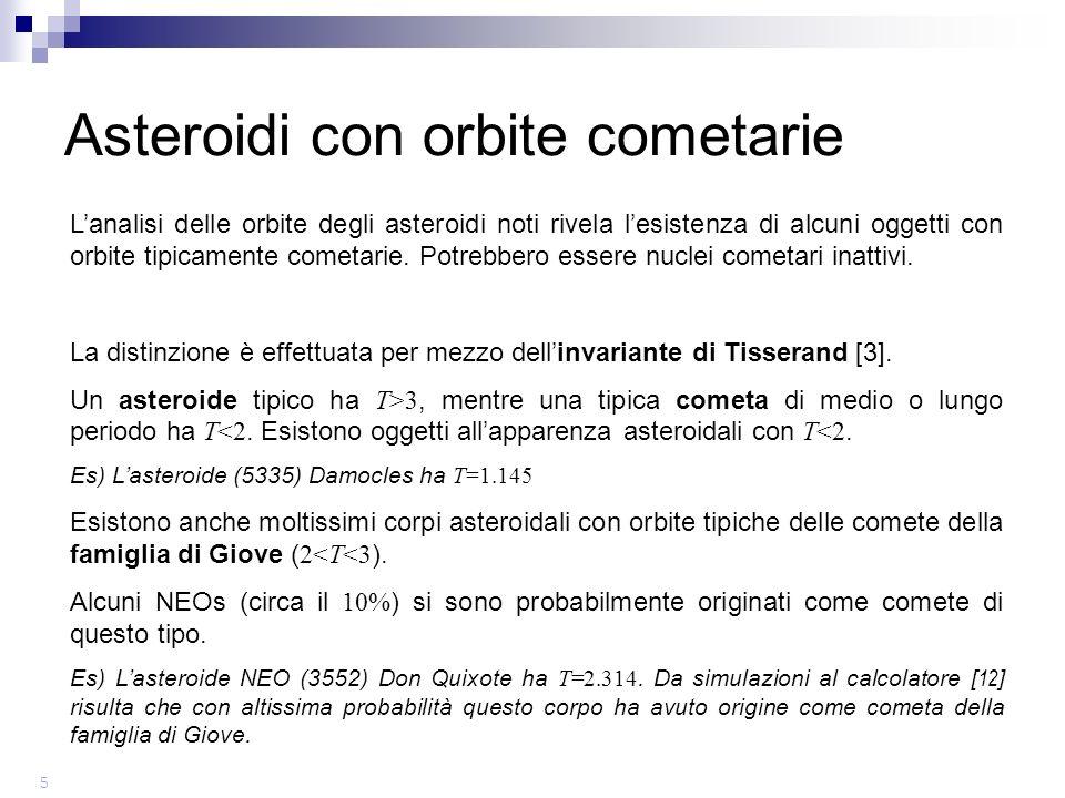 Lanalisi delle orbite degli asteroidi noti rivela lesistenza di alcuni oggetti con orbite tipicamente cometarie.