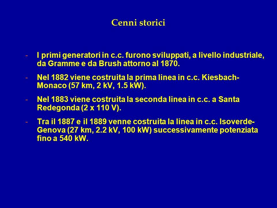 Cenni storici -I primi generatori in c.c. furono sviluppati, a livello industriale, da Gramme e da Brush attorno al 1870. -Nel 1882 viene costruita la