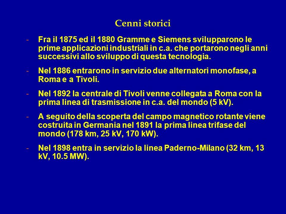 Cenni storici -Fra il 1875 ed il 1880 Gramme e Siemens svilupparono le prime applicazioni industriali in c.a. che portarono negli anni successivi allo