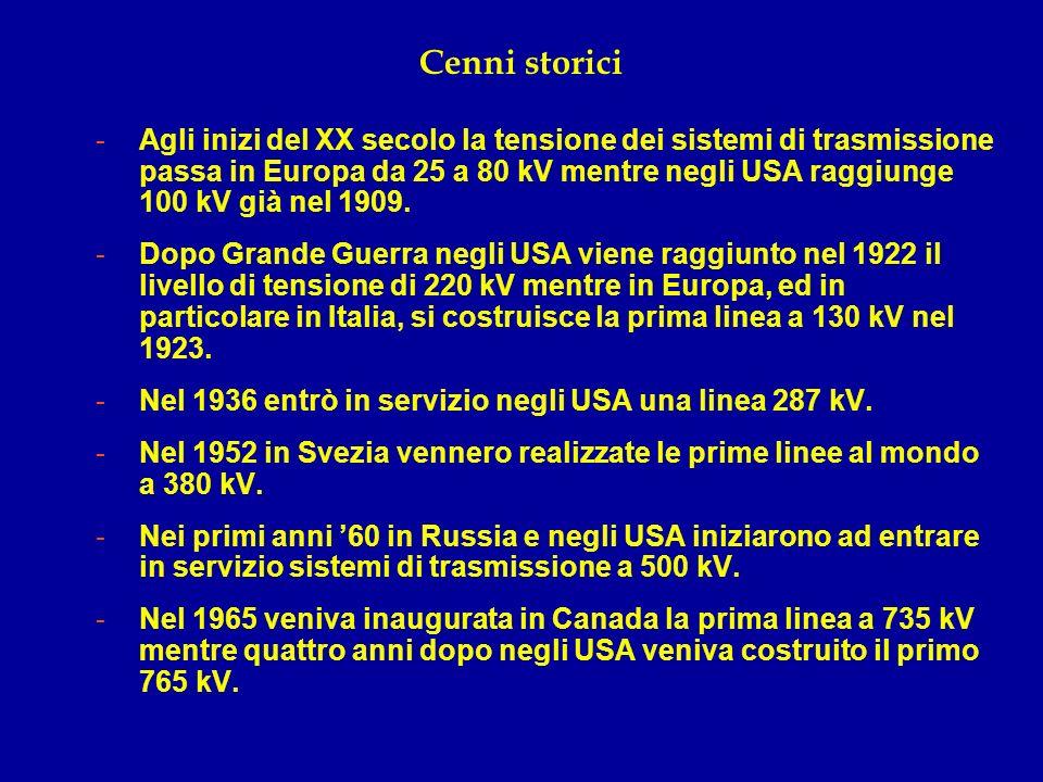 Cenni storici -Agli inizi del XX secolo la tensione dei sistemi di trasmissione passa in Europa da 25 a 80 kV mentre negli USA raggiunge 100 kV già ne