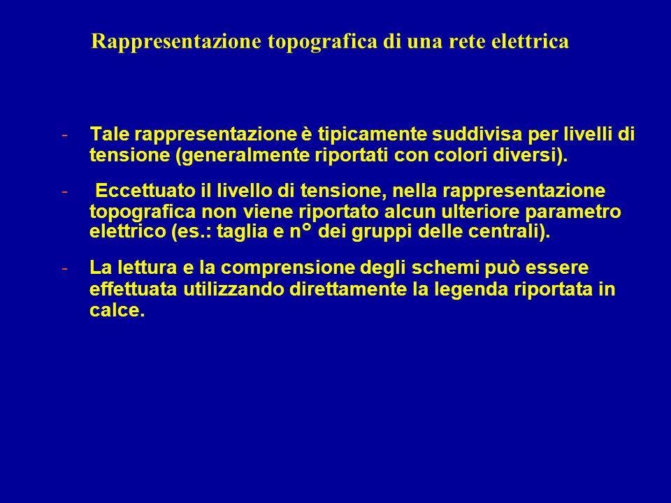 Rappresentazione topografica di una rete elettrica -Tale rappresentazione è tipicamente suddivisa per livelli di tensione (generalmente riportati con