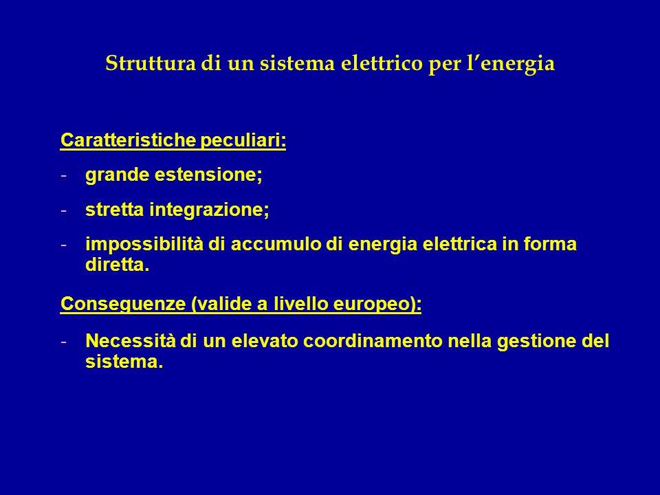 Struttura di un sistema elettrico per lenergia Caratteristiche peculiari: -grande estensione; -stretta integrazione; -impossibilità di accumulo di ene