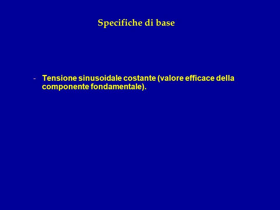 Specifiche di base -Tensione sinusoidale costante (valore efficace della componente fondamentale).