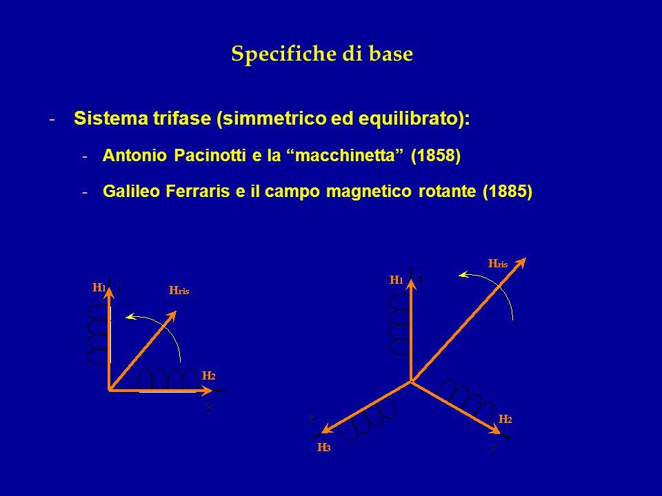 Specifiche di base -Sistema trifase (simmetrico ed equilibrato): -Antonio Pacinotti e la macchinetta (1858) -Galileo Ferraris e il campo magnetico rot