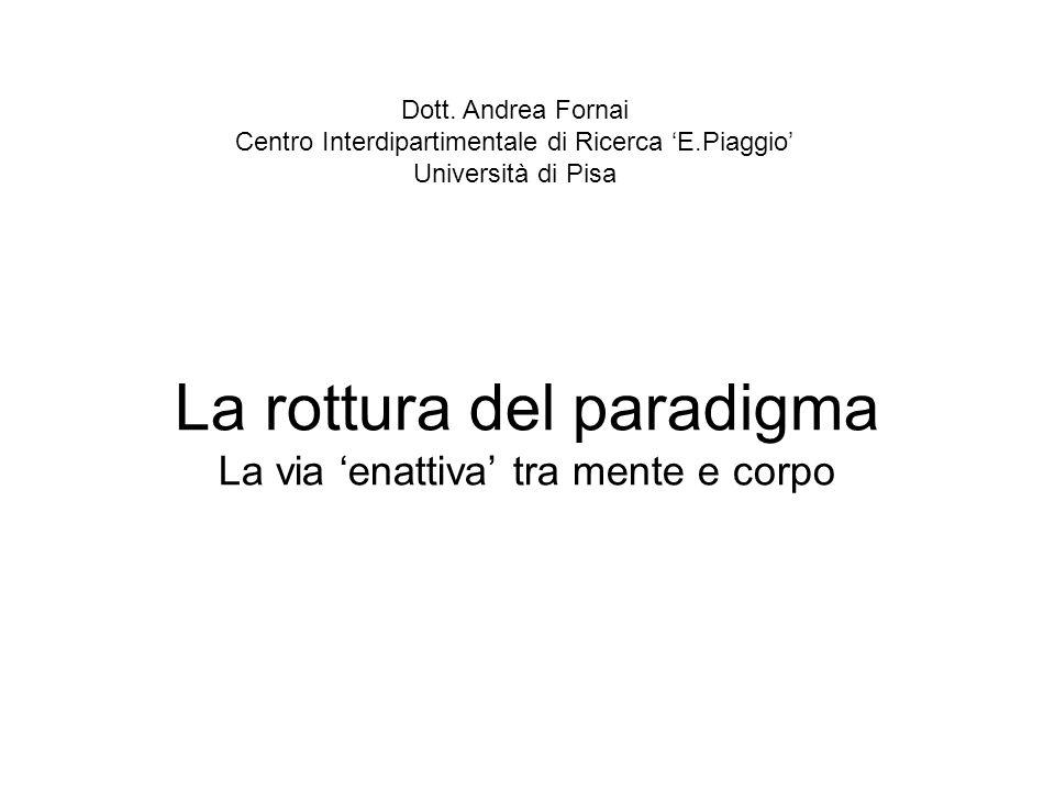 La rottura del paradigma La via enattiva tra mente e corpo Dott. Andrea Fornai Centro Interdipartimentale di Ricerca E.Piaggio Università di Pisa