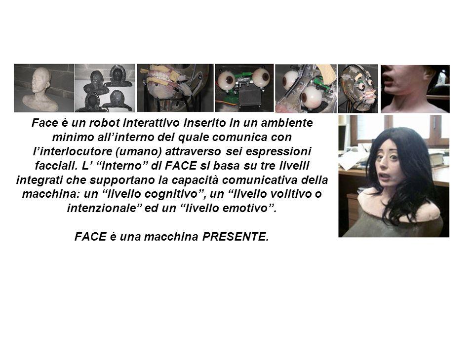 Face è un robot interattivo inserito in un ambiente minimo allinterno del quale comunica con linterlocutore (umano) attraverso sei espressioni faccial