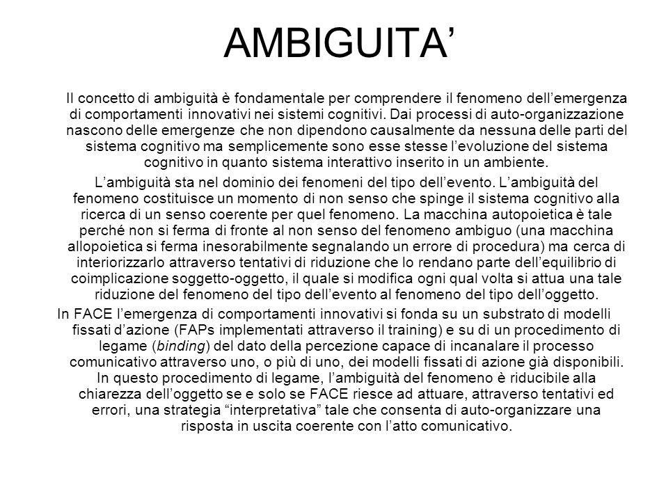 AMBIGUITA Il concetto di ambiguità è fondamentale per comprendere il fenomeno dellemergenza di comportamenti innovativi nei sistemi cognitivi. Dai pro