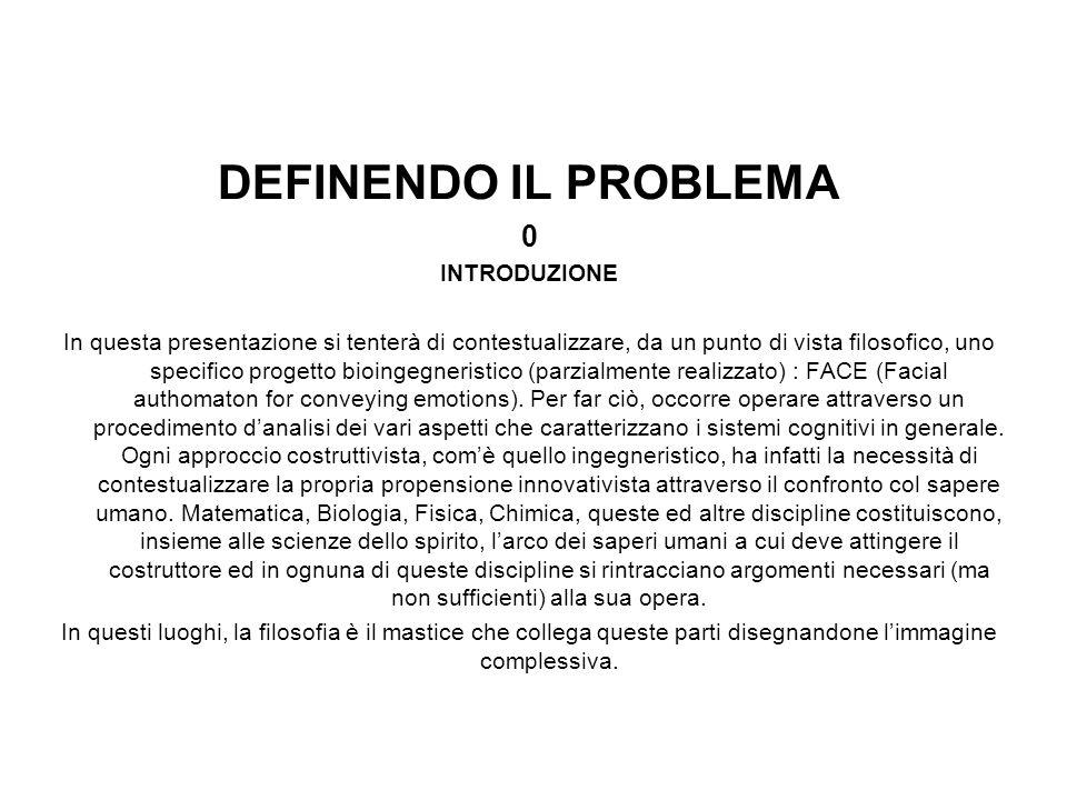 DEFINENDO IL PROBLEMA 0 INTRODUZIONE In questa presentazione si tenterà di contestualizzare, da un punto di vista filosofico, uno specifico progetto b