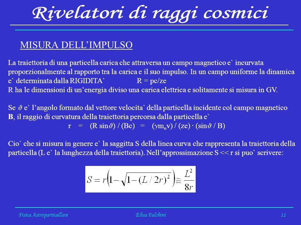 Fisica AstroparticellareElisa Falchini11 La traiettoria di una particella carica che attraversa un campo magnetico e` incurvata proporzionalmente al rapporto tra la carica e il suo impulso.