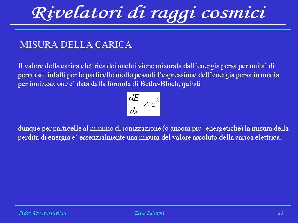Fisica AstroparticellareElisa Falchini13 MISURA DELLA CARICA Il valore della carica elettrica dei nuclei viene misurata dallenergia persa per unita` d
