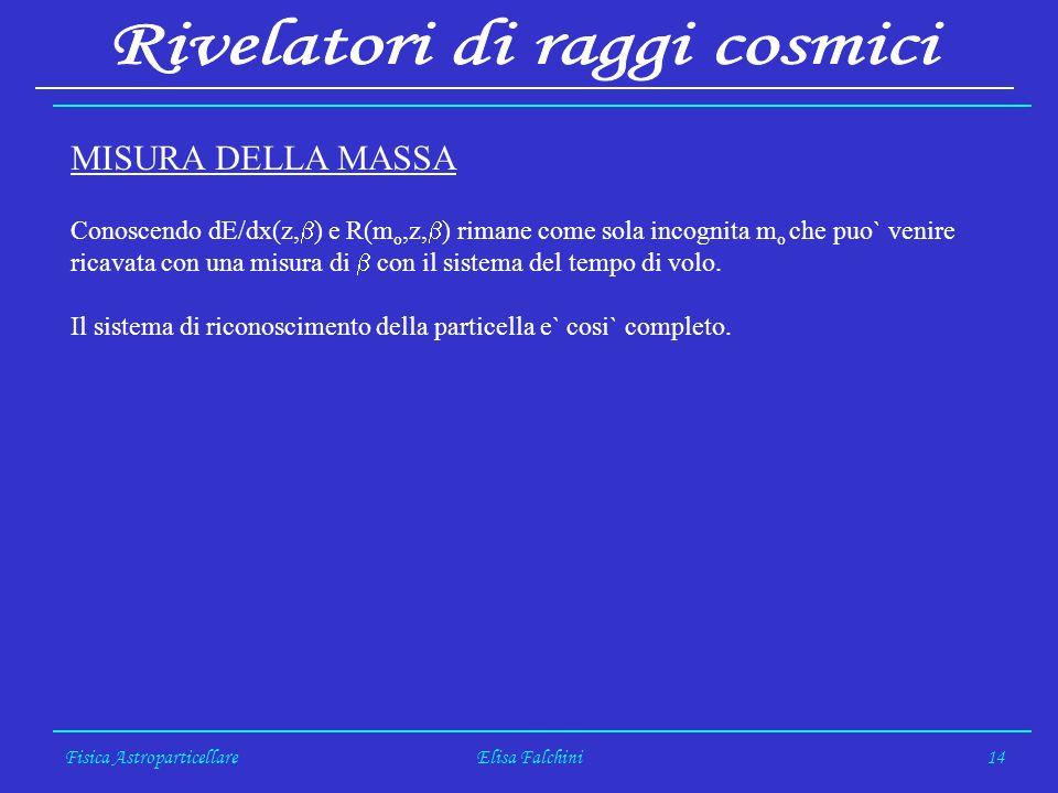 Fisica AstroparticellareElisa Falchini14 MISURA DELLA MASSA Conoscendo dE/dx(z, ) e R(m o,z, ) rimane come sola incognita m o che puo` venire ricavata