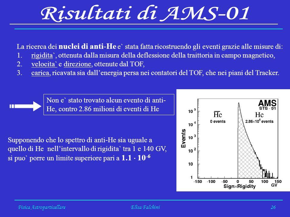 Fisica AstroparticellareElisa Falchini26 La ricerca dei nuclei di anti-He e` stata fatta ricostruendo gli eventi grazie alle misure di: 1.rigidita`, o