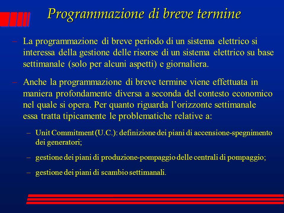Programmazione di breve termine –La programmazione di breve periodo di un sistema elettrico si interessa della gestione delle risorse di un sistema el