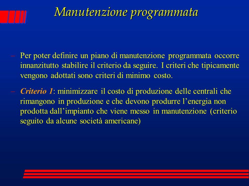 Manutenzione programmata –Per poter definire un piano di manutenzione programmata occorre innanzitutto stabilire il criterio da seguire. I criteri che