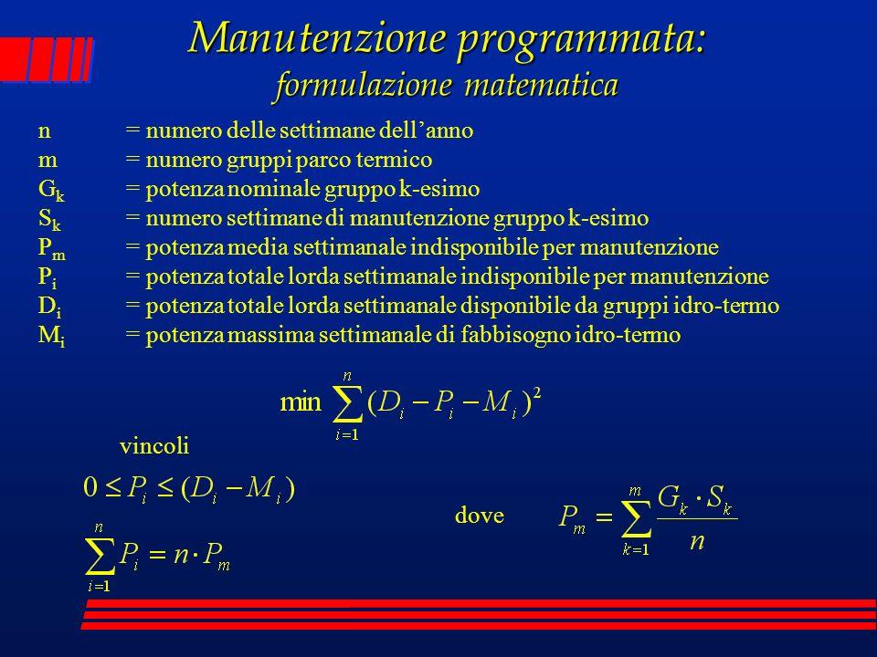 Manutenzione programmata: formulazione matematica n= numero delle settimane dellanno m= numero gruppi parco termico G k = potenza nominale gruppo k-es